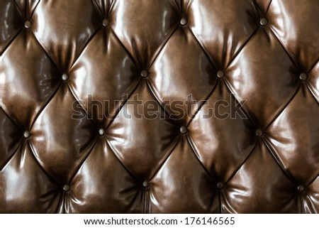 Brown genuine leather sofa