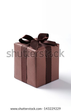 brown gift box on white background. brown Gift box with brown ribbon. - stock photo