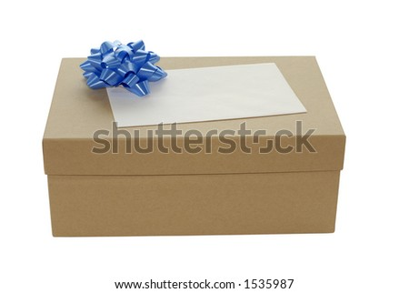 Brown gift box with blue ribbon bow for trim - stock photo