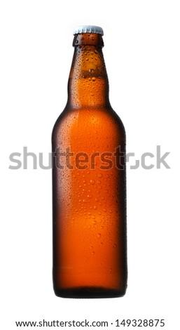 brown glass beer bottle - stock photo