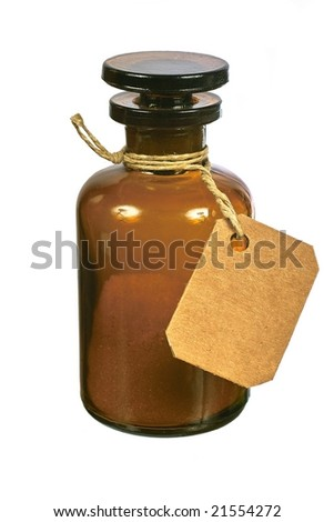 Brown glass bottle with tag isolated on white background - stock photo