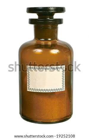 Brown glass bottle with the ground stopper front view isolated on white background - stock photo