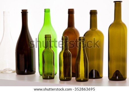 Brown Glass Bottles for Wine and Beer - stock photo