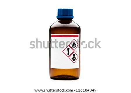 Brown glass chemical bottle isolated on white background - stock photo
