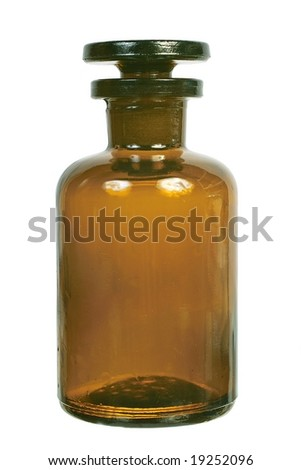 Brown glass chemical bottle with the ground stopper front view isolated on white background - stock photo