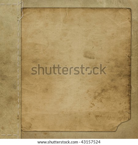 Brown grunge cover for an album with photos - stock photo