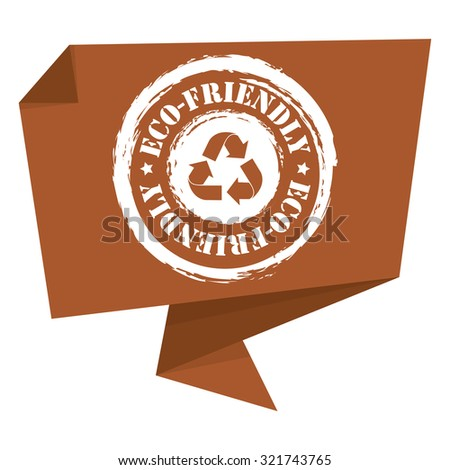 Brown Grunge Eco-Friendly Paper Origami Speech Bubble or Speech Balloon Infographics Sticker, Label, Sign or Icon Isolated on White Background - stock photo