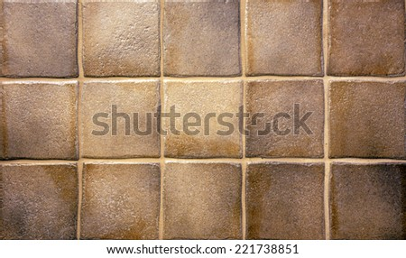 Brown grunge kitchen tiles for background or texture - stock photo