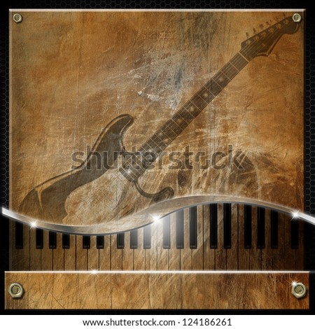 Brown Grunge Music Background / Grunge and brown musical background with piano and electric guitar - stock photo