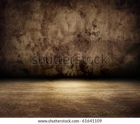 brown grunge room - stock photo