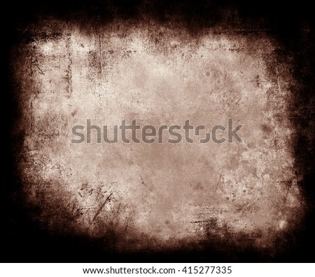 Brown Grunge Texture Background With Frame, abstract scratched background with faded central area for your text or picture - stock photo