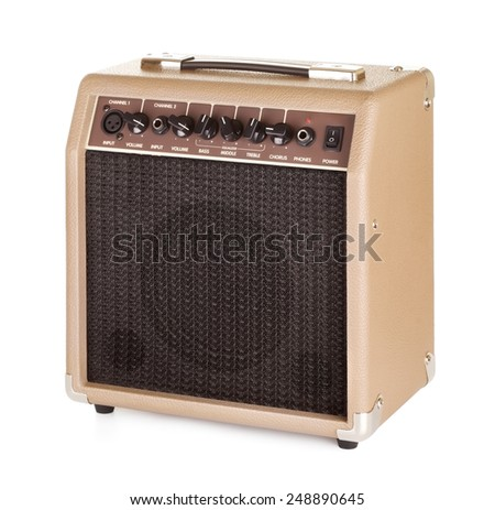 brown guitar combo amplifier, isolated on white - stock photo