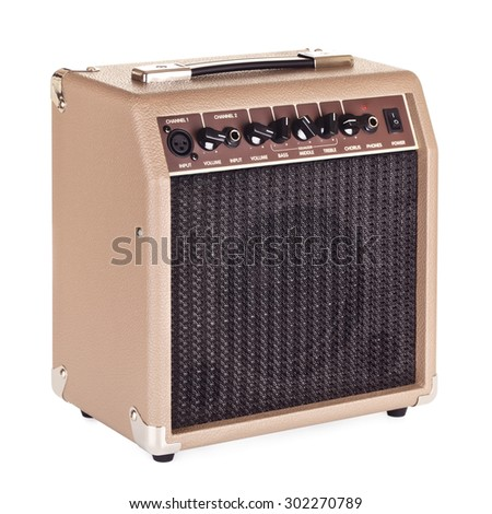 brown guitar combo amplifier, isolated on white