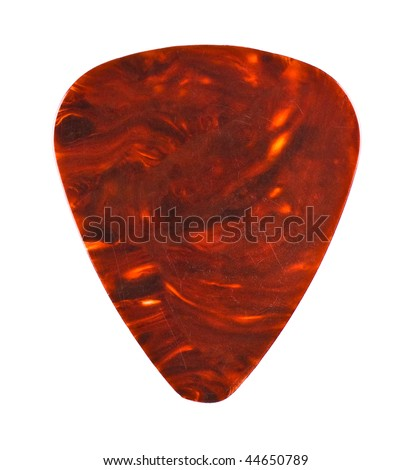 brown guitar plectrum isolated on white - stock photo