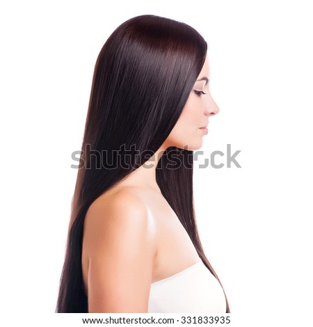 Brown Hair.Beautiful Woman with Straight Long Hair - stock photo