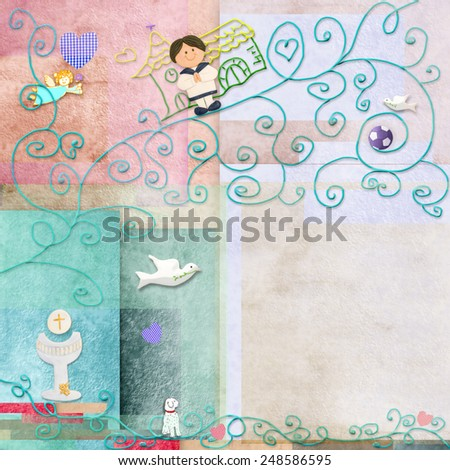 Brown hair boy First Holy Communion card .Space to write message or add a photo - stock photo