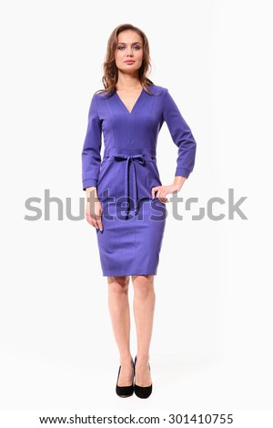 brown hair business woman in official blue dress isolated on white - stock photo