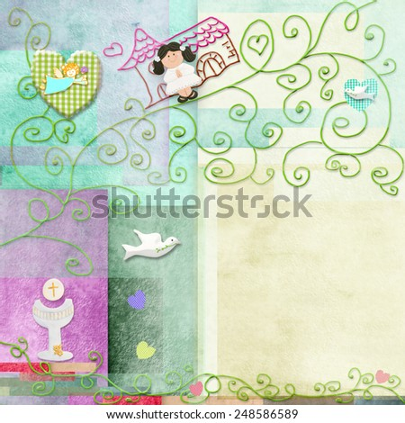 Brown hair girl First Holy Communion invitation.Space to write message or add a photo - stock photo