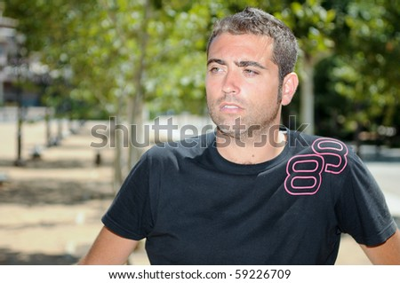 Brown hair man portrait - stock photo