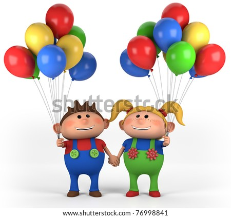 brown-haired boy with balloons; high quality 3d illustration - stock photo