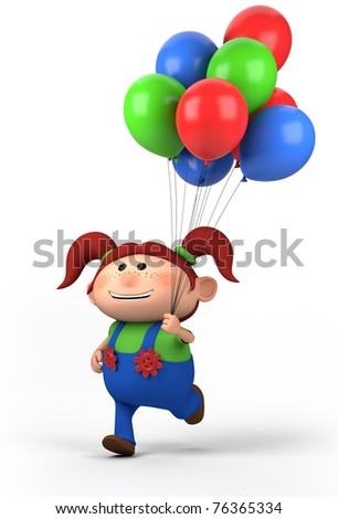 brown-haired girl running with balloons; high quality 3d illustration - stock photo