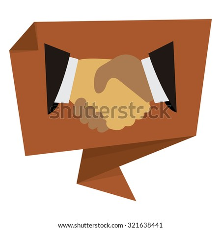Brown Handshake, Hand Holding Paper Origami Speech Bubble or Speech Balloon Infographics Sticker, Label, Sign or Icon Isolated on White Background - stock photo