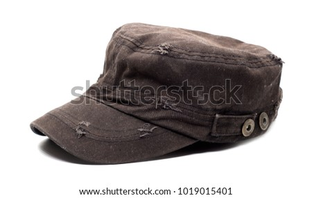 brown hat isolated on white   background.