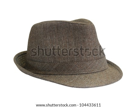 Brown hat on the white background - stock photo