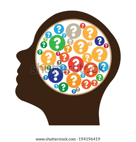 Brown Head With Group of Colorful Question Mark Icon in Brain Isolated on White Background - stock photo