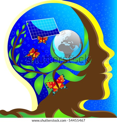 brown head with roots, a tree growing in the head, background in head blue sky with world, growing plant and solar panel - stock photo