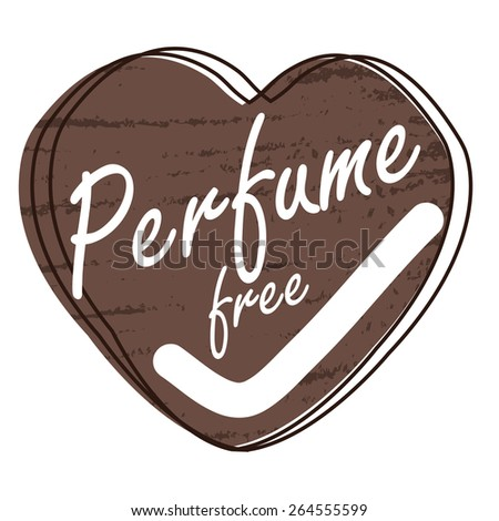 Brown Heart Shape Perfume Free Badge, Banner, Sign, Tag, Label, Sticker or Icon Isolated on White Background - stock photo