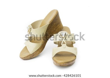 Brown heels shoes color on white background