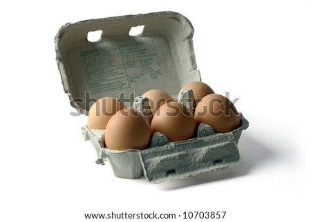 brown hens eggs in egg carton; isolated on white ground - stock photo