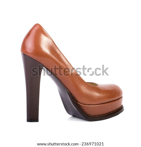 Brown high heel women shoes isolated on white background