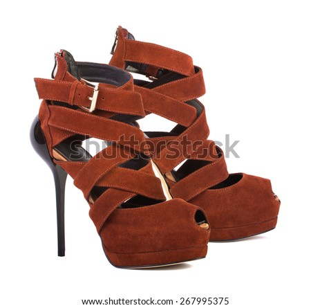Brown high heel women shoes isolated on white background - stock photo