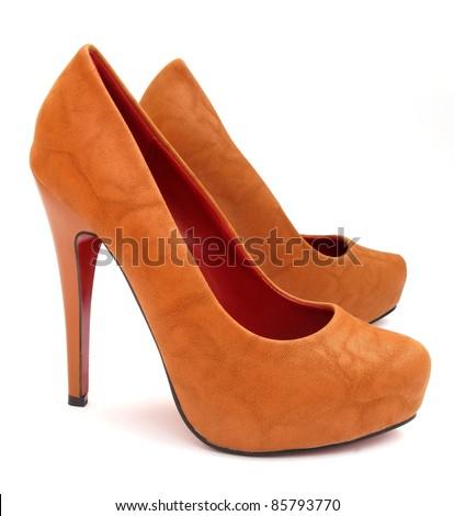 Brown high heels pump shoes - stock photo