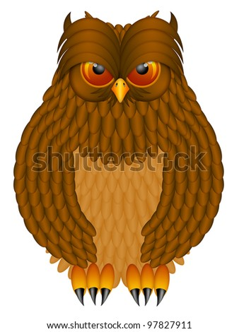 Brown Horned Owl with Feathers and Claws Illustration Isolated on White Background - stock photo