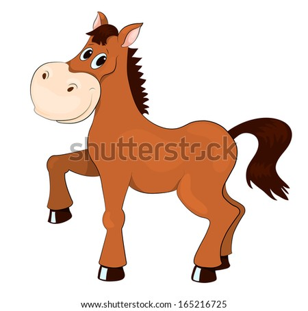 Brown horse. Isolated on white. Cartoon illustration. - stock photo