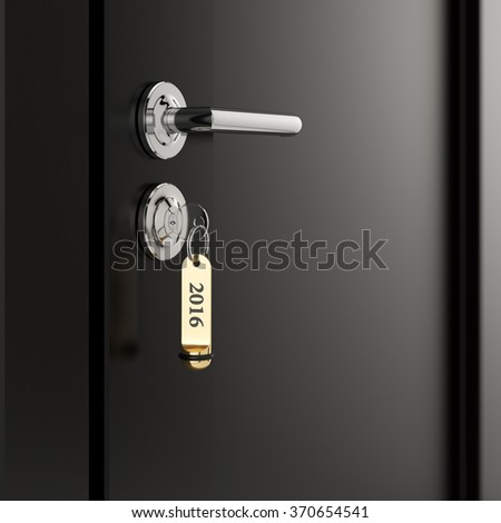 Brown hotel room door with key in the lock with golden lable number 2016 new year concept - stock photo
