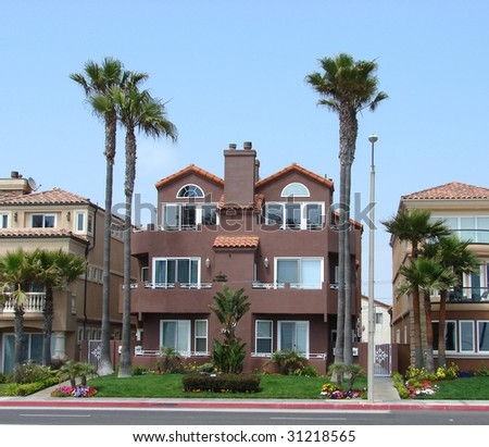 Brown house and palm trees - stock photo
