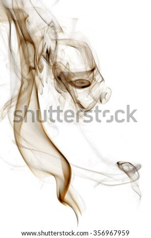 Brown insence smoke on white background, graphic resource. - stock photo