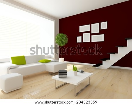 brown interior of a living room
