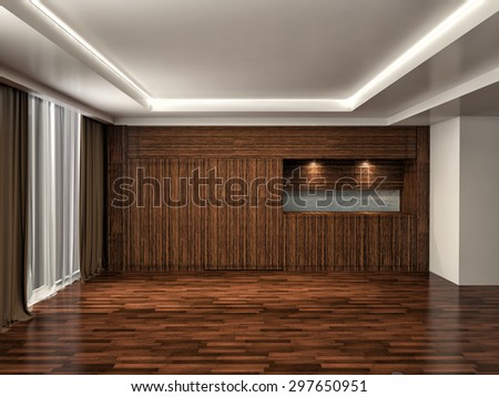 brown interior with large window. 3d illustration - stock photo