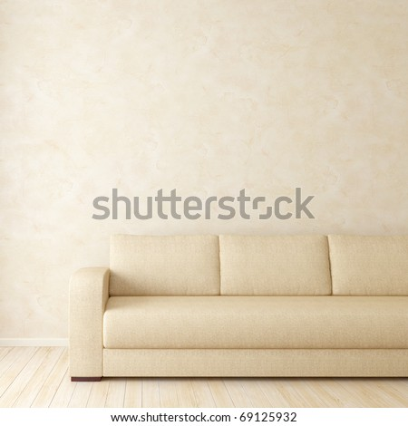 Brown interior with sofa and stucco wall on background - stock photo