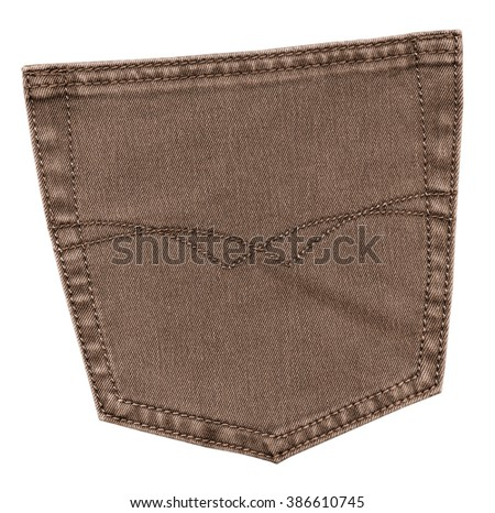 brown jeans back pocket isolated on white