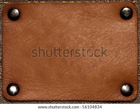 Brown jeans label isolated - stock photo