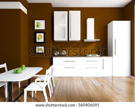 brown kitchen interior. 3d concept - stock photo
