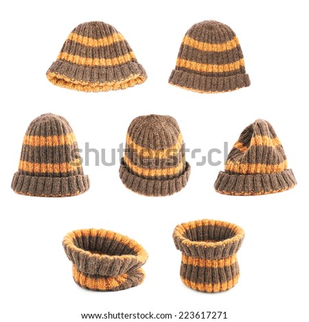 Brown knitted head cap with the orange stripes, isolated over the white background, set of seven foreshortenings - stock photo
