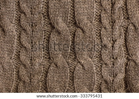 Brown Knitted Wool Background./ Brown  Knitted Wool Background - stock photo