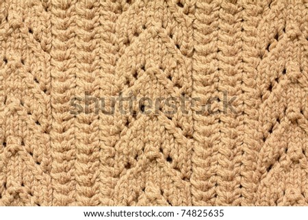 Brown knitted woolen background - stock photo